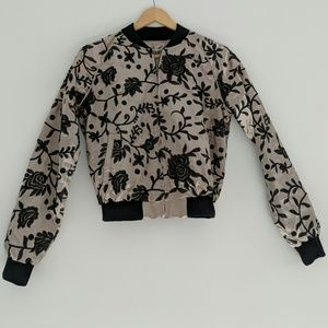 SEEK Embroidered Satin Bomber Jacket NWT